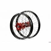 ROUES COMPLETES TALON 21/18 MOYEUX ROUGE CERCLE NOIR  250/350 RR 2013-2014 roues completes