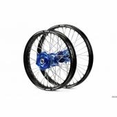 ROUES COMPLETES TALON 21/18 MOYEUX BLEU CERCLE NOIR toute la gamme TT HUSQVARNA 2014-2015 roues completes