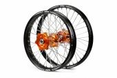 ROUES COMPLETES TALON 21/18 MOYEUX ORANGE CERCLE NOIR toute la gamme TT KTM 2003-2012 roues completes