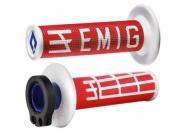 Poignees ODI Lock On V2 Emig Rouge Blanc  revetements