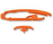 Kit patin de bras oscillant + patin de chaîne inférieur UFO orange KTM 250 SX-F 2016 patins bras oscillant