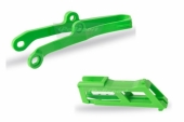 Kit guide chaîne + patin de bras oscillant POLISPORT vert Kawasaki 450 KX-F 2016- 2017 kit guide chaine et patin bras oscillant