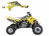 Kit Deco Blackbird Tribal Skull 2 Jaune  Suzuki 450 LTR 2006-2015 kit deco quad