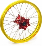 ROUE ARRIERE 16 MOYEUX HANN WEELS ROUGE CERCLE EXEL JAUNE SUZUKI 85 RM GRANDE ROUE 2002-2016 roues completes