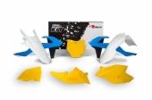Kit plastiques RACETECH Vintage '70 édition limitée jaune/bleu KTM 125 SX 2016-2017 kit plastiques racetech
