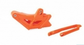 Kit Guide chaîne + patin de bras oscillant Polisport orange KTM 250/300 EX-C 2012-2016 kit guide chaine et patin bras oscillant