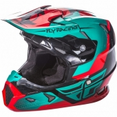 CASQUE CROSS FLY RACING TOXIN rouge/bleu/orange 2018 casques