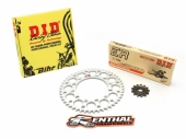 Kit chaine D.I.D/RENTHAL 520 type ERT2 (couronne ultra-light anti-boue) HUSQVARNA 350 FC 2014-2018 kit chaine