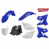 Kit plastiques POLISPORT restylé couleur origine bleu/noir/blanc YAMAHA 125 YZ 2002-2014 plastique polisport