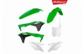 Kit plastiques POLISPORT couleur origine 17 vert/noir/blanc KAWASAKI 250 KX-F 2017-2018 plastique polisport