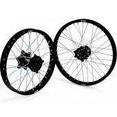 JEUX DE ROUES CROSS PROSTUF MOYEUX NOIR/CERCLE NOIR KAWASAKI 250/450 KX-F 2006-2018 roues completes