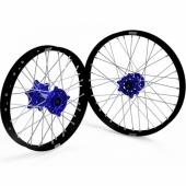 JEUX DE ROUES CROSS PROSTUF MOYEUX BLEU/CERCLE NOIR KAWASAKI 250/450 KX-F 2006-2018 roues completes