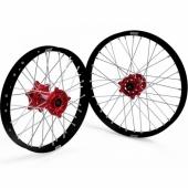 JEUX DE ROUES CROSS PROSTUF MOYEUX ROUGE/CERCLE NOIR KAWASAKI 250/450 KX-F 2006-2018 roues completes