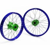 JEUX DE ROUES CROSS PROSTUF MOYEUX VERT/CERCLE BLEU KAWASAKI  250/450 KX-F 2006-2018 roues completes