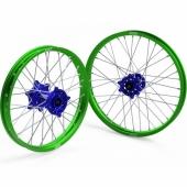 JEUX DE ROUES CROSS PROSTUF MOYEUX BLEU/CERCLE VERT KAWASAKI 250/450 KX-F 2006-2018 roues completes