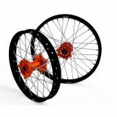 JEUX DE ROUES CROSS PROSTUF MOYEUX ORANGE/CERCLE NOIR KTM 85 SX GRANDES ROUES 2008-2018 roues completes