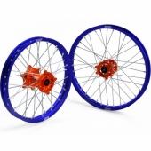 JEUX DE ROUES CROSS PROSTUF MOYEUX ORANGE/CERCLE BLEU KTM SX/SX-F 2003-2012 roues completes