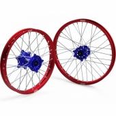 JEUX DE ROUES CROSS PROSTUF MOYEUX BLEU/CERCLE ROUGE SUZUKI 250/450 RM-Z 2007-2018 roues completes