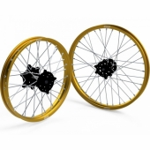 JEUX DE ROUES CROSS PROSTUF MOYEUX NOIR/CERCLE OR SUZUKI 250/450 RM-Z 2007-2018 roues completes
