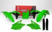 Kit plastique RACETECH vert fluo/noir KAWASAKI 250 KX-F 2017-2018 kit plastiques racetech