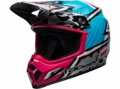 Casque BELL MX-9 MIPS Tagger Asymmetric Gloss BLEU/ROSE  casques