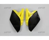 plaques numero laterales UFO JAUNE/NOIR SUZUKI 250 RM-Z 2010-2018 plastiques ufo