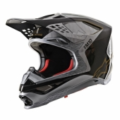 CASQUE CROSS ALPINESTARS SUPERTECH M10 NOIR CABONE/GRIS MATTE /OR casques