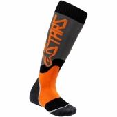 chaussettes alpinestars JUNIOR MX PLUS2 GRIS / ORANGE FLUO jambieres chaussettes