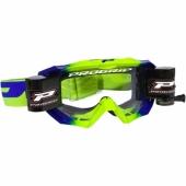 LUNETTE  PROGRIP MX 3200 VENON JAUNE FLUO / BLEUE AVEC ROLL OFF lunettes