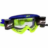 LUNETTE  PROGRIP 3450 RIOT BLEUE / JAUNE FLUO AVEC ROLL OFF  lunettes