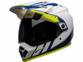 Casque BELL MX-9 Adventure Mips Dash BLANC BRILLANT/BLEU casque quad